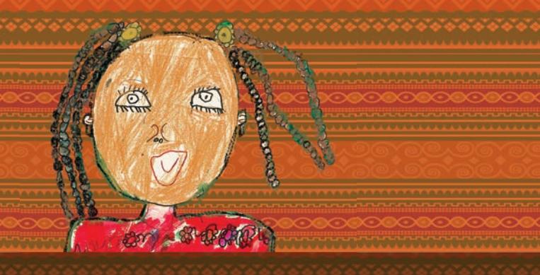 Desenho infantil feito em lápis de uma menina negra com laços no cabelo. Ela usa blusa vermelha, com desenhos de flores.