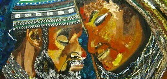 Ilustração africana em que dois adultos negros estão de frente um para o outro, com as testas encostadas.
