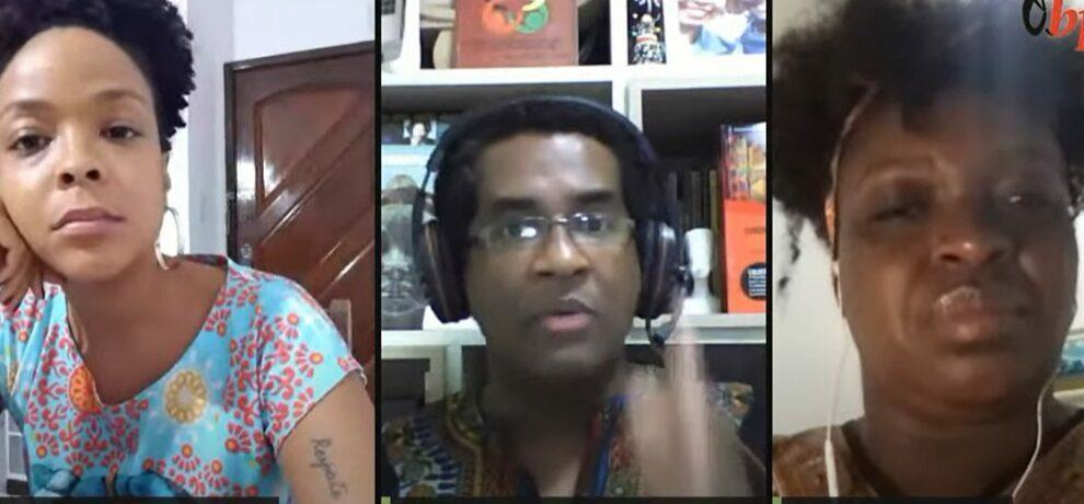 Frame de uma tela de Zoom dividida em três partes. Três adultos negros dialogam em uma live, cada um de sua casa.