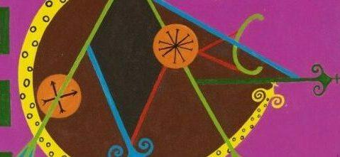 Obra com fundo roxo e com desenhos nas cores marrom, azul, vermelho, laranja, verde e amarelo.